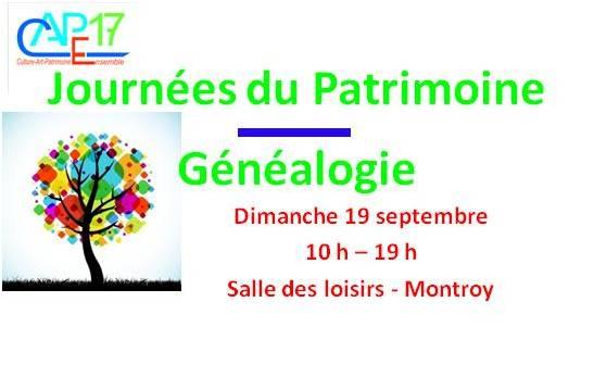 Journées du patrimoine / Généalogie – Dimanche 19 septembre de 10h à 19h, salle des loisirs